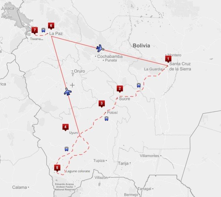 Mappa viaggi-bolivia